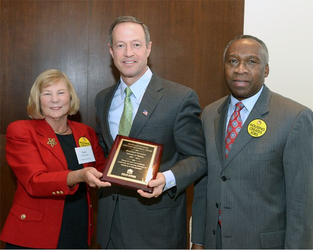 Governor O'Malley received the Housing Leadership Award from Trudy McFall, executive director of the Maryland Affordable Housing Coalition. Secretary Skinner joined the presentation ceremony Tuesday during the annual Housing Day in Annapolis. Photo Credit Executive Office of the Governor.