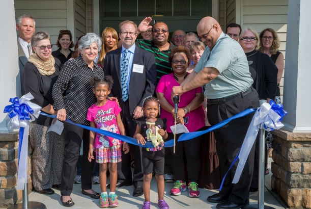 Residents, development leaders and local officials celebrated the opening of Riverwoods at North East Apartments with an official ribbon cutting held Wednesday, June 30. From left: Robert Iber, Director of Baltimore Multifamily Program Center, U.S. DHUD; Chickie Grayson, President, Enterprise Homes; Edmund Delany, Senior VP, Capital One Bank; Paul Stark, Vice Mayor, Town of North East; Ron Wilson, Director of Housing Initiatives, Enterprise Homes; and Christine Caudillo, Property Manager, Habitat America.