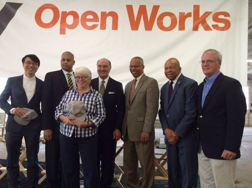 From left, MICA President Samuel Hoi, DHCD Deputy Secretary Ellington Churchill Jr., Delegate Maggie McIntosh, DBED Secretary Mike Gill, Maryland Lieutenant Governor Boyd K. Rutherford, Rep. Elijah Cummings, and Laurens
